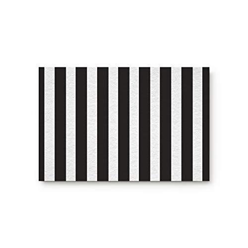 Black And White Stripes Fabric Door Mat Rug Indoor/Outdoor/Front Door/Shower Bathroom Doormat, Non-slip Doormats, 18-Inch by 30-Inch