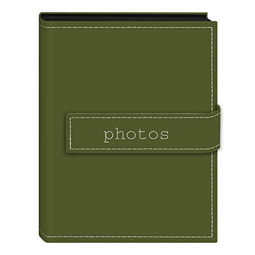 "Pioneer Photo Albums 36-Pocket 4 by 6-Inch Embroidered ""Photos"" Strap Sewn Leatherette Cover Photo Album, Mini, Sage Green"