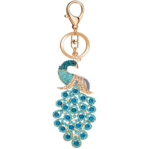 JOUDOO Peacock Keychain with Rhinestone for Bags or Purse GJ008 (blue) ()