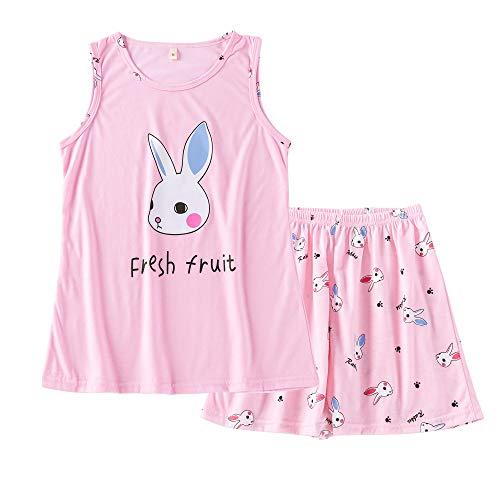 Big Girls Summer Pajamas Set Cute Tank Top and Shorts Cotton Night Teens Sleepwear Size 12-18 (L=Size 14, Pink Bunny(Fresh Fruit))