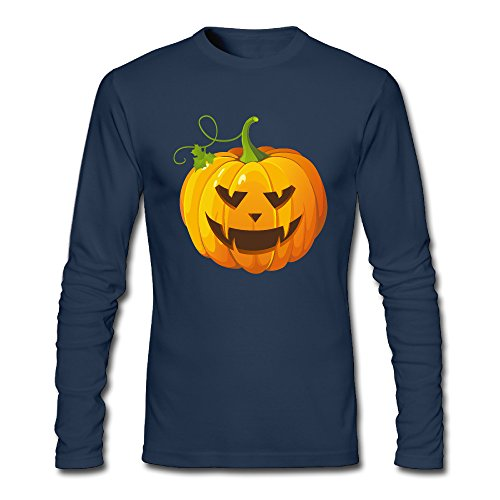 Men's Fashion Halloween Pumpkin Long Sleeve T Navy US Size S ()
