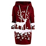 Tiandino Women Pullover Hoodie Dress Sweatshirt, Casual Slim Christmas Long Sleeve Snowflake Printed Hooded Tunic Tops Red