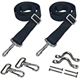 "Vtete 2 PCS Adjustable Bimini Top Straps with Loops + Snap Hooks + Eye Straps - 28""~60"" Stainless Steel Boat Awning Hardware"