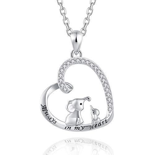 BEILIN Mother Daughter Jewelry - 925 Sterling Silver Lucky Elephant Love Heart Pendant Necklace Bracelet for Women Girls (Necklace)