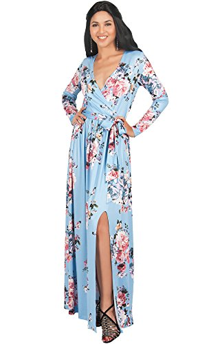 KOH KOH Plus Size Womens Long Sleeve Floral Flower Print V-Neck Slit Split Cute Cocktail Evening Winter Fall Wedding Guest Sexy Party Casual Gown Gowns Maxi Dress Dresses, Sky Baby Light Blue XL 14-16