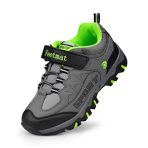 cf9eda7608234e Feetmat Boys Hiking Shoes Waterproof Kids Sneakers Dark Gray Size 1 M  Little Kid