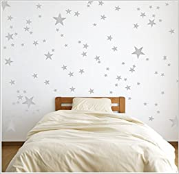 Silver Wall Decal Stars (123 Decals) | Easy To Peel Easy To Stick + Safe On  Painted Walls | Removable Metallic Vinyl Star Decor | Star Sticker Large  Paper ...