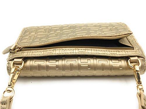 Tommy Hilfiger Tasche CLUTCH *XBODY* Kuriertasche, goldfarben, 18x10x3cm, schwarz, Damentasche