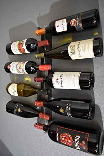Metal Wine Rack Wall - Mounted Bottle Storage Capacity 9
