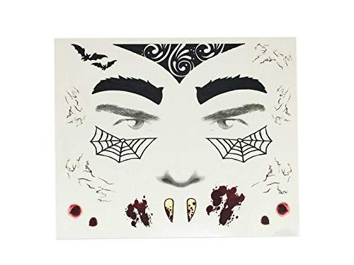 Junson Happy Scary Vampire Tattoo Sticker Temporary Bat Body Sticker for Halloween Masquerade (Black) for Halloween