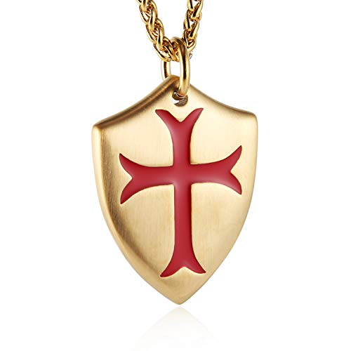 """HZMAN Knights Templar Cross Joshua 1:9 Shield Stainless Steel Pendant Necklace with Free 24"""" Chain (Gold Red)"""