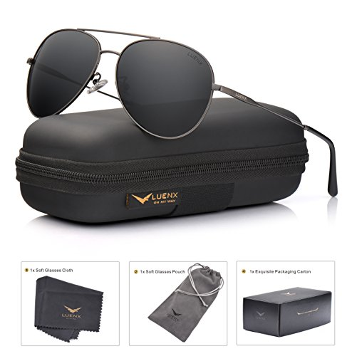 LUENX Men Women Aviator Sunglasses Polarized Non-Mirrored Grey Lens Metal Frame UV 400 - Sunglasses 400 Uv