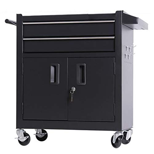 BGROEST Maintenance Tool Cart Container Equipment Cart Silent Pulley Tool Box Multifunctional Auto Repair Tool Trolley Tattoo Workbench Workshop Tool Tin Cabinet (Color : Black, Size : 62x33x74cm)