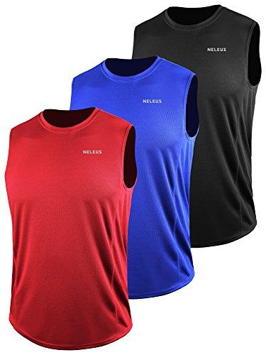 Neleus Men's 3 Pack Muscle Workout Tank Top for Gym Running,5042,Black,Blue,red,2XL,EU 3XL
