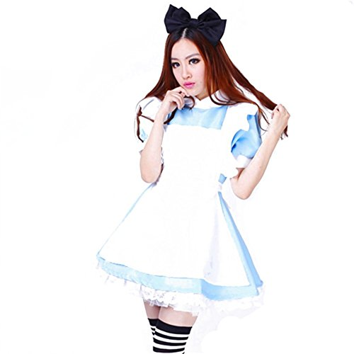 Traditional Alice In Wonderland Costumes - Jutao Sexy Blue Cosplay Lolita French Apron Maid Halloween Fancy Dress Costumes Adult Black Headdress L Size