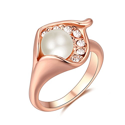24k Gold Inlay - TEMEGO Cute Pearl Clear CZ Ring for Women, Rose Gold Cultured Pearl Crystal Diamond Ring,Size 8