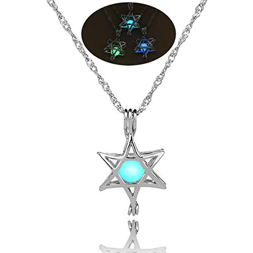 Glow in The Dark Necklace Steampunk Hollow Pendant with Chain for Women Hexagonal Star Blue-Green