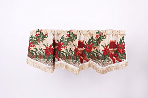 Holiday Seasonal Tapestry Decorative Christmas Poinsettias and Candles Design - 60