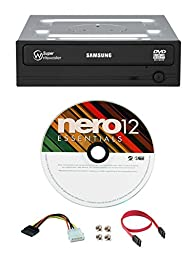 Samsung 24x SH-224FB/BSBE Internal DVD Writer Bundle with Nero Burning Software and Cable Accessories (SATA Optical Drive)