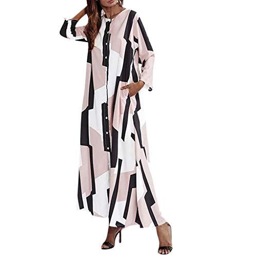 (Nadition Women Summer Geometric Pattern Color Block Maxi Dress Long Sleeve Oversized Loose Full Length Maxi Dress Pink)