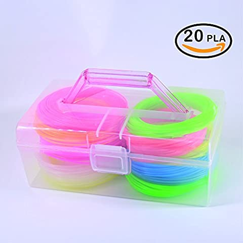 NanHong roll outThe New 3D Pen Filament Refills Storage box Kit 6 Glow in the Dark Colors 1.75mm pla.20 Colors/16 Feet Each Colors Kit,328 Linear Feet Total - 16 Linear Feet
