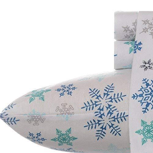 Eddie Bauer Tossed Snowflake Flannel Sheet Set, Queen, Blue