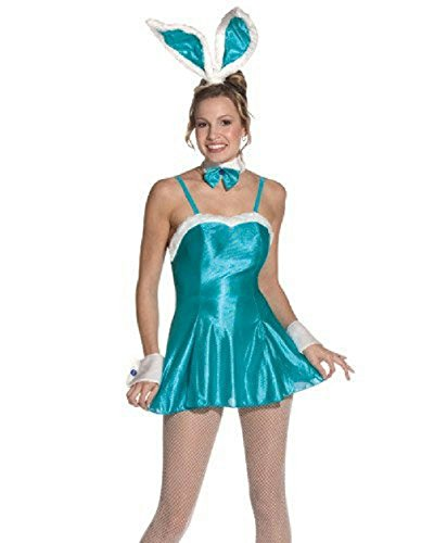 Women's Sexy Turquoise Blue Cocktail Hunny Bunny Adult Costume Fits Sizes 6-12