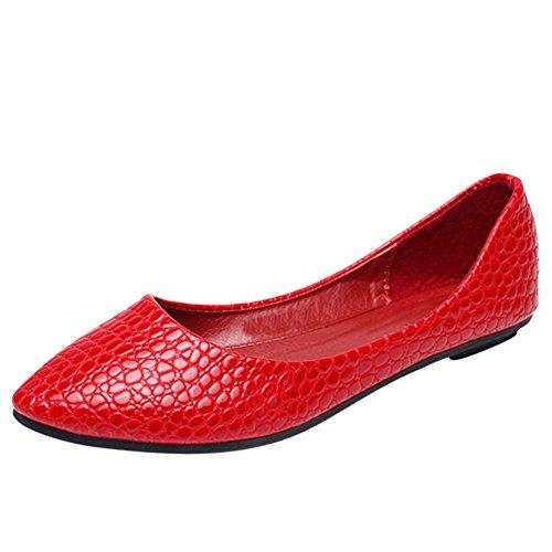 Resbalón De Cuero De La Pu De Punta Estrecha Para Mujer En Zapatos Planos 04b-rojo