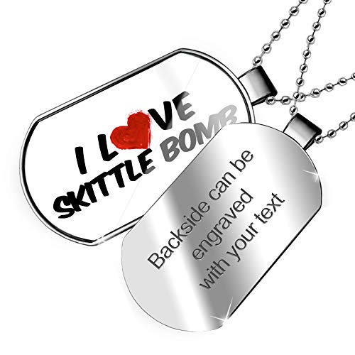 NEONBLOND Personalized Name Engraved I Love Skittle Bomb Cocktail Dogtag Necklace ()