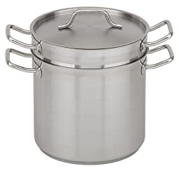 Royal Industries Double Boiler with Lid, Stainless Steel, 12 qt