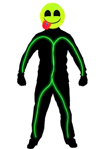 Glow Green Stick 4' (GlowCity Light Up Super Bright Tongue Out Emoji Stick Figure Costume for Parties Lighting & Mask Kit - Clothing Not Included - Lime Green - Small 3-5 FT Tall)