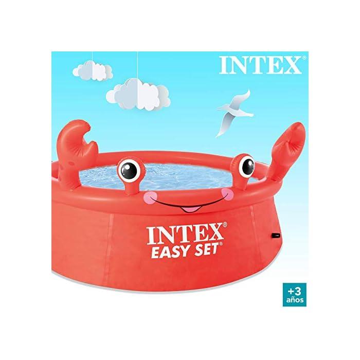 41j646hsDnL Piscina hinchable infantil INTEX gama Easy Set, formato redondo Medidas: 183x51 cm, capacidad para 880 litros Diseño: cangrejo con ojos y extremidades en relieve hinchable