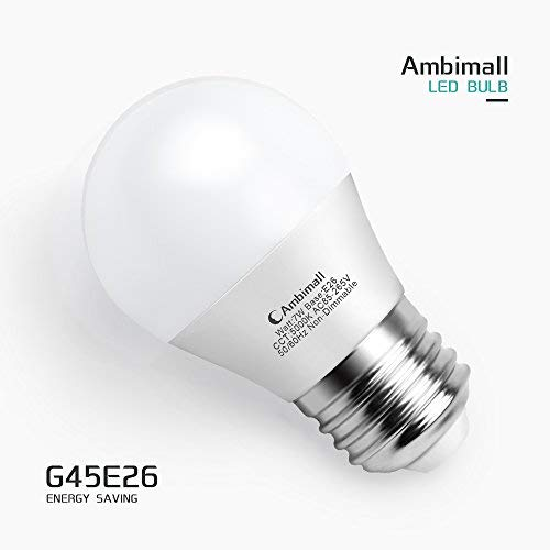 A15 LED Bulb 60Watts Equivalent, Ambimall G45 7 Watt Appliance Bulb, Daylight White 5000K 700 Lumens, Refrigerator Light Bulb with E26 Medium Base Non-Dimmable, Perfect for Ceiling Fan(6 Pack)