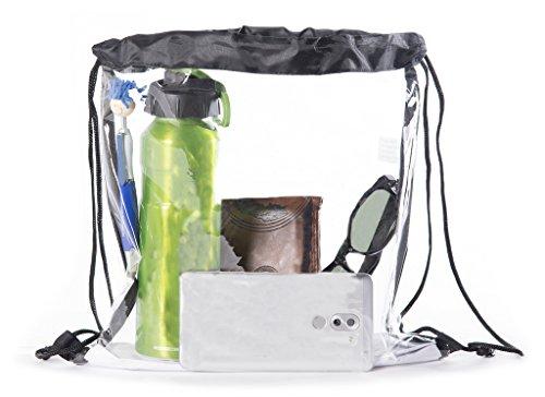 Mato & Hash Clear Stadium Mini Cinch Bags - Clear Black (Clear Drawstring Backpack)