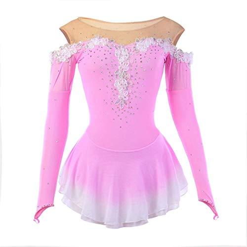 Make Dress Figure Skating - NYW Handmade Figure Skating Dress for Girls Roller Skate Dress Competition Costume Appliques Long Sleeved Elastic Skating Dresses Pink,M