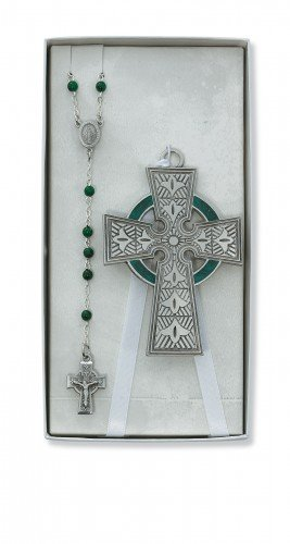 Celtic Religious Cross - Celtic Crib Cross & Rosary Set Irish Celtic Claddagh Catholic Religious