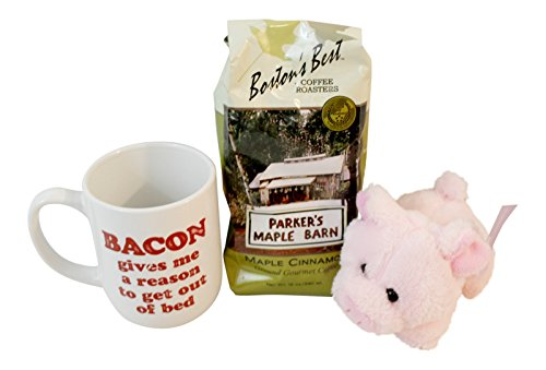 3 Pc Bacon Themed Gift Bundle Includes: Bacon Themed Coffee Mug, Maple Cinnamon Coffee, Plush Stuffed Pig