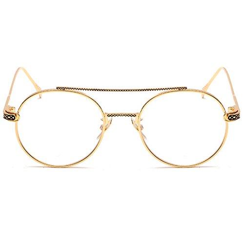 metal Men UV400 Lente Espejo Oro women sol delgada de redondas Gafas de Lente Huicai 84Znxx
