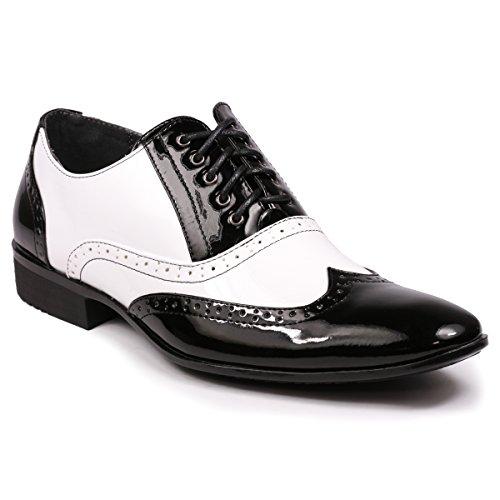 Miko Lotti ML502 Men's Wingtip Lace Up Tuxedo Oxford Dress Shoes (11, Black (Black White Oxford Men)