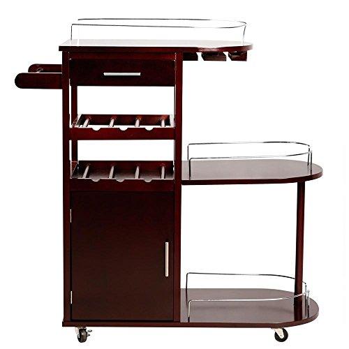 Topeakmart Kitchen Moving Serving Cart Wood Entertainment Cart Wine Beverage Rack,Brown (Bar Cart Wine Rack)