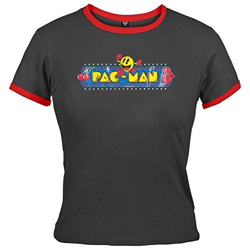 OWomen's fficially Licensed Pac-man Retro Ringer Juniors Babydoll Fit T-shirt. S, M or L