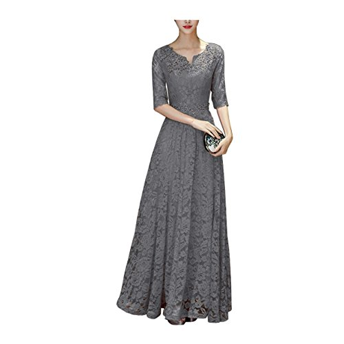 DingDingMail Women's Long Lace With Half Sleeves Wedding Bridesmaid Dress Mother Of The Bride Dresses (039) by DingDingMail