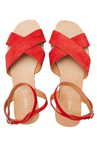 next Mujer Sandalias con Diseño Cruzado De Ante Rojo
