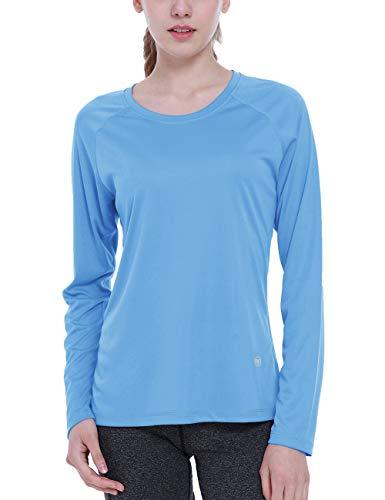 ChinFun Women's UPF 50+ UV Sun Protective T-Shirt Long Sleeve Outdoor Running Performance Workout Top Sky Blue,Medium