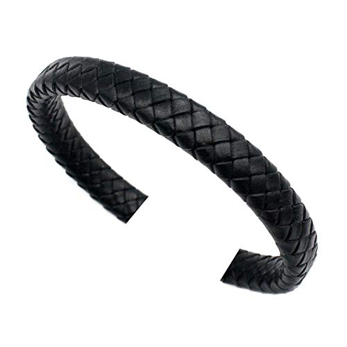10mm Leather Strap for Bangle Bracelet Making Licorice Leather Cord 10mmx6mm 1 Yard (10mmx5.5mm Braided, Black) Black Licorice Leather Bracelet