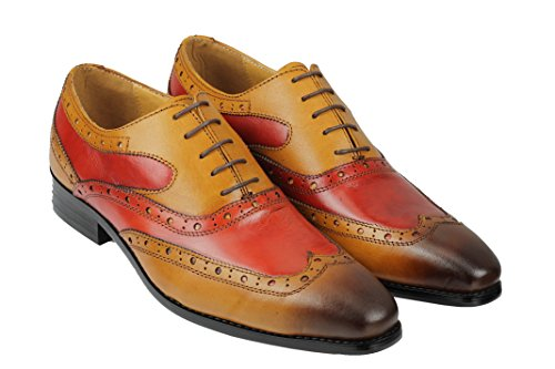 pour richelieu homme 2 de Marron cuir lacets Camel véritable à En brûlé tons à chaussures wEpqTFApn