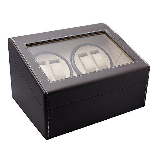 Geff House Automatic Watch Winder & Organizer Display Case (Coffee Brown)