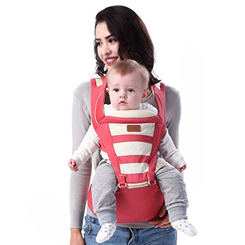Baby Carrier with Hip Seat Backpack & Kangaroo Style Convertible Positions for Carrying Infant & Toddler Best Baby Shower Gift Red