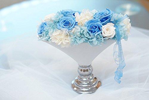 【ロザリーヌ】 プリザーブドフラワー アレンジメント フラワーアレンジ 結婚祝いや誕生日プレゼント、還暦祝いのギフトに (ブルー) B079VH2857  ブルー