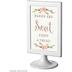 Andaz Press Framed Baby Shower Party Signs, Faux Rose Gold Glitter with Pink Peach Florals, 4x6-inch, Babies Are Sweet, Enjoy a Treat Sign, 1-Pack, Dessert Table Candy Buffet